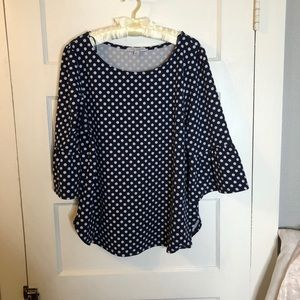 3/4 bell sleeve navy polka dot blouse!